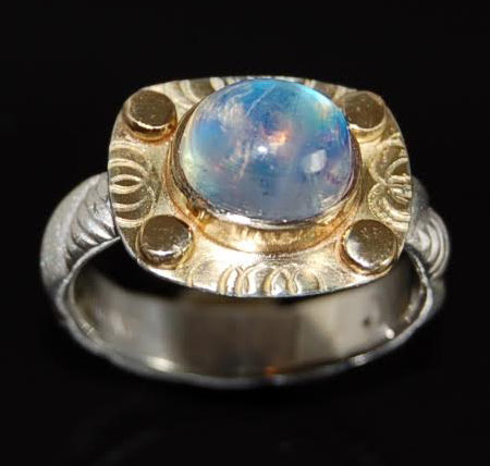 handcrafted ring blue stone